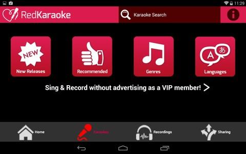 Pantalla principal de Red Karaoke