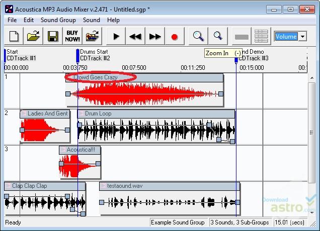 pantalla principal de Acoustica MP3 Audio Mixer