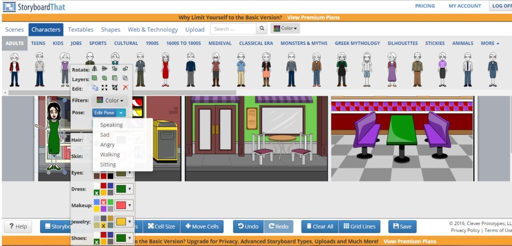pantalla principal de StoryboardThat