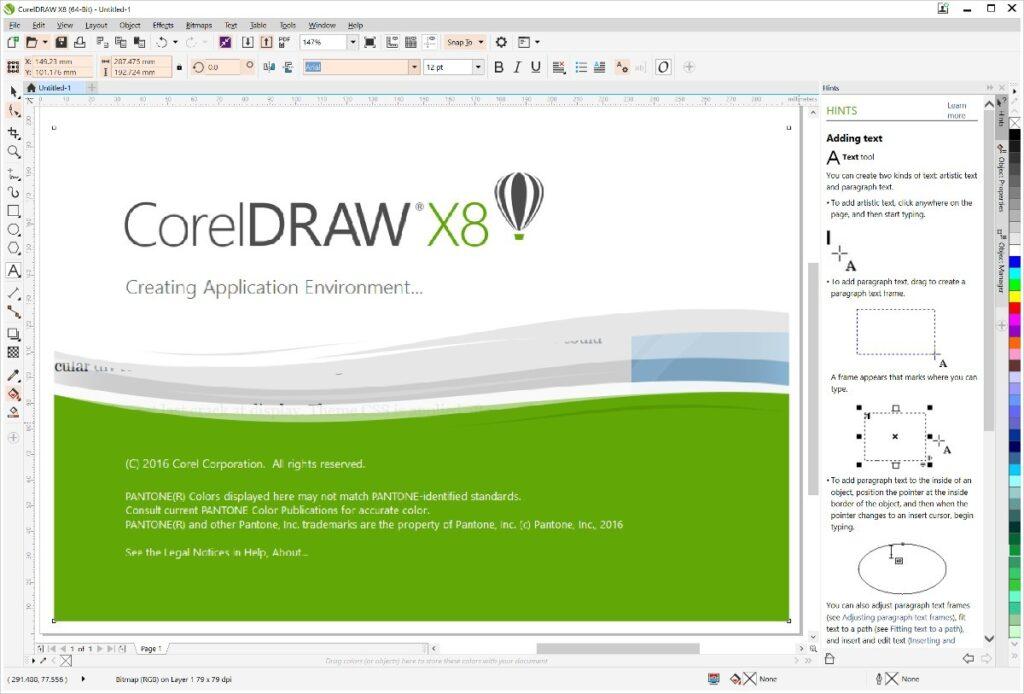 pantalla principal de corel draw